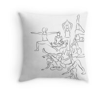 Yoga Asanas - drawing Throw Pillow