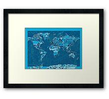 World Map landmarks 10 Framed Print