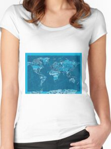 World Map landmarks 10 Women's Fitted Scoop T-Shirt