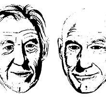 #Bestfriends - Portraits of Sir Ian McKellan and Sir Patrick Stewart by oconnost76