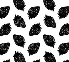 Black Strawberries Pattern by XOOXOO