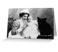 My Grandmother as a Nanny with child and Scotch Terrier Greeting Card