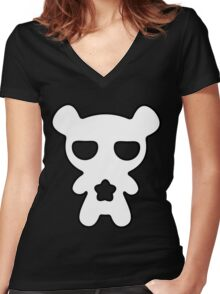 Lazy Bear Black and White Women's Fitted V-Neck T-Shirt