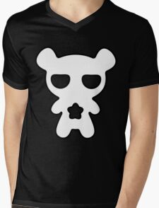 Lazy Bear Black and White Mens V-Neck T-Shirt