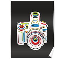 Rainbow Camera Black Background Poster