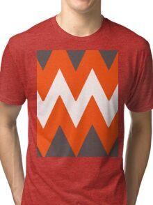 Chevron Orange and Gray Tri-blend T-Shirt
