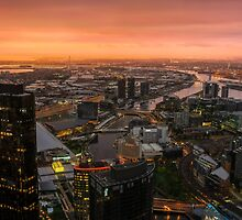 Moody Sunset Over Melbourne by Ray Warren