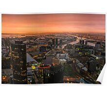 Moody Sunset Over Melbourne Poster