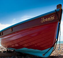 Red fishing boat - Worthing beach by Kevin  Poulton