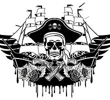 Creepy pirate with hat, daggers and roses by funnyshirts