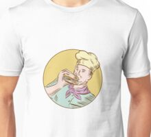 Chef Cook Eating Burger Etching Unisex T-Shirt