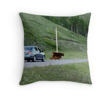 Rush hour in Kananaskis Country Throw Pillow