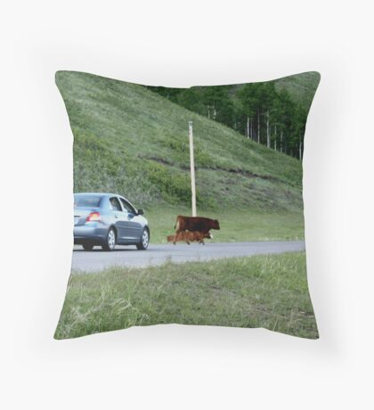 Rush hour in Kananaskis Country Throw Pillow