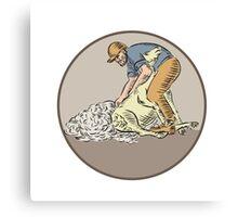 Farmworker Shearing Sheep Circle Etching Canvas Print