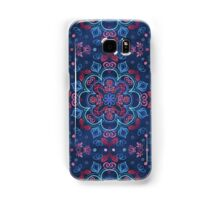 Cherry Red & Navy Blue Watercolor Floral Pattern Samsung Galaxy Case/Skin