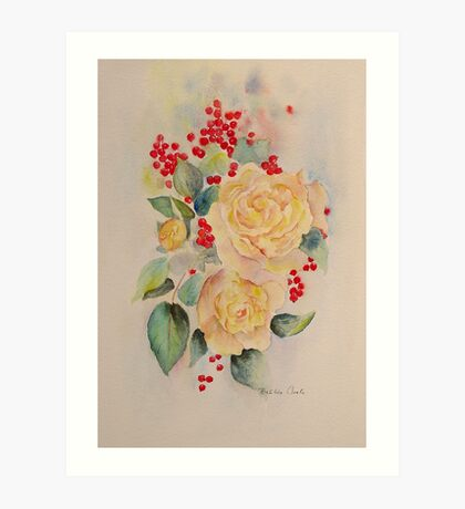 Roses and redcurrants Art Print