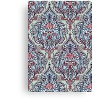 Botanical Moroccan Doodle Pattern in Navy Blue, Red & Grey Canvas Print