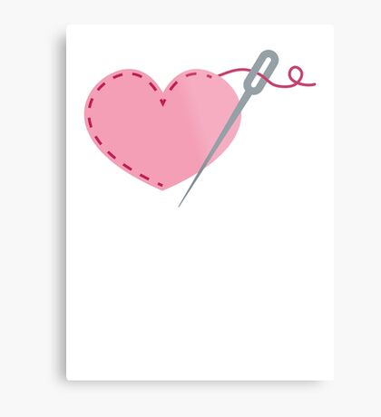 I love stitches! cute needle stitching a heart Metal Print