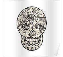 Sugar Skull Tattoo Etching Poster