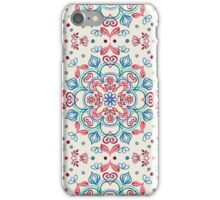 Pastel Blue, Pink & Red Watercolor Floral Pattern on Cream iPhone Case/Skin