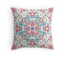 Pastel Blue, Pink & Red Watercolor Floral Pattern on Cream Throw Pillow