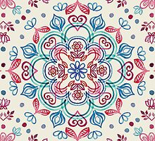 Pastel Blue, Pink & Red Watercolor Floral Pattern on Cream by micklyn