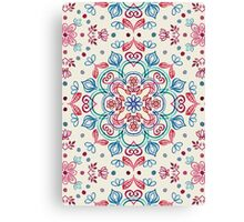 Pastel Blue, Pink & Red Watercolor Floral Pattern on Cream Canvas Print