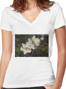 A Pair of Fragrant Poet's Daffodils, Celebrating Spring Women's Fitted V-Neck T-Shirt
