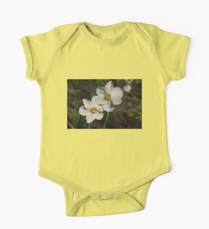 A Pair of Fragrant Poet's Daffodils, Celebrating Spring One Piece - Short Sleeve
