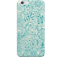 Detailed Floral Pattern in Teal and Cream iPhone Case/Skin