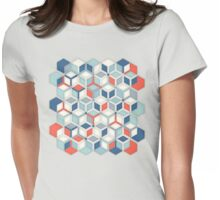 Soft Red, White & Blue Hexagon Pattern Play Womens Fitted T-Shirt
