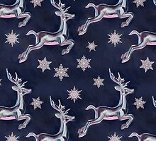 Silver Snowflakes & Happy Reindeer in Navy Blue & Pink by micklyn
