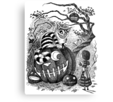 Alice and the Cheshire Cat, or A Very Merry Halloween in Wonderland Metal Print