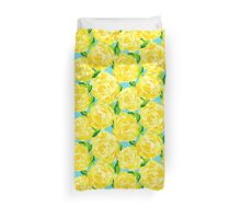 Yellow Roses on Aqua Blue Duvet Cover