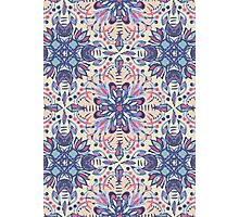 Protea Pattern in Blue, Cream & Coral Photographic Print