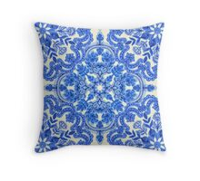 Cobalt Blue & China White Folk Art Pattern Throw Pillow