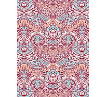 Natural Rhythm - a hand drawn pattern in peach, mint & aqua Photographic Print