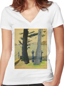 From Darling Point Twds Point Piper on an Overcast Day Women's Fitted V-Neck T-Shirt