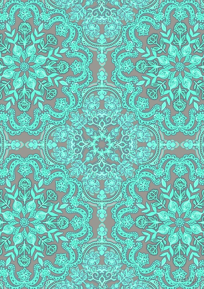 """Mint Green & Grey Folk Art Pattern"" by micklyn 