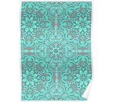 Mint Green & Grey Folk Art Pattern Poster