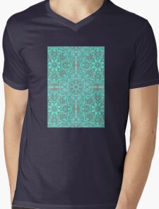 Mint Green & Grey Folk Art Pattern T-Shirt