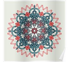 Coral & Teal Tangle Medallion Poster