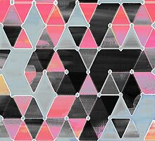 Winter Sunset - triangles in black & pink by micklyn
