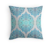 Through Ocean & Sky - turquoise & blue Moroccan pattern Throw Pillow