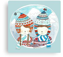 Winter hats mint Canvas Print