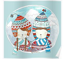 Winter hats mint Poster