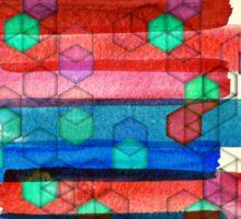Shape Shifting & Shadow Boxing - watercolor stripes & hexagon pattern Sticker