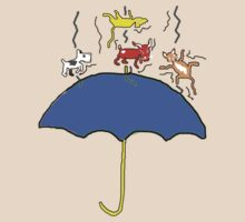 Raining Cats and DOGS (blue) T SHIRT/STICKER by Shoshonan