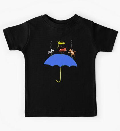 Raining Cats and DOGS (blue) T SHIRT/STICKER Kids Tee