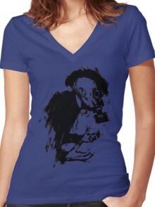 The Lonely Hunter (Ink/Brush Version) Women's Fitted V-Neck T-Shirt